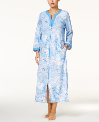 Miss Elaine Contrast-Trimmed Zip-Front Long Robe $68 thestylecure.com