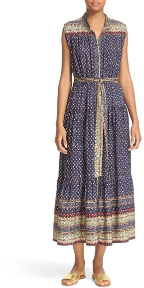 Women's Sea Midnight Border Print Silk Midi Dress