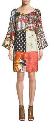 Mila Louise La Prestic Ouiston Long-Sleeve Patch Printed Silk Dress