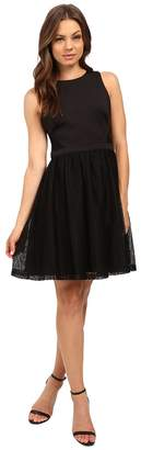 Jessica Simpson Solid Fit Flare Dress with Lace Skirt JS6D8661 Women's Dress