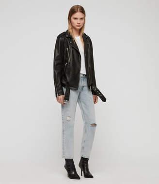 AllSaints Wade Oversized Leather Biker Jacket