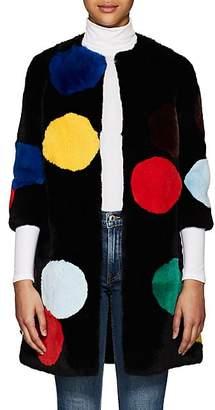 Lisa Perry Women's Polka Dot Rabbit Fur Coat - Black