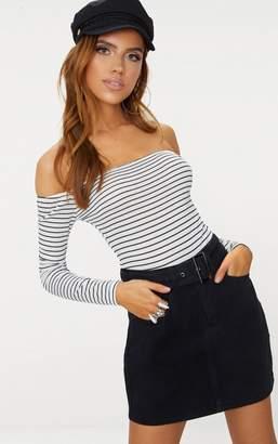 PrettyLittleThing White Stripe Bardot Long Sleeve Thong Bodysuit
