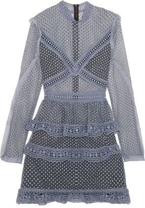 Self-Portrait - Ruffled Organza-trimmed Guipure Lace Mini Dress - Gray $435 thestylecure.com