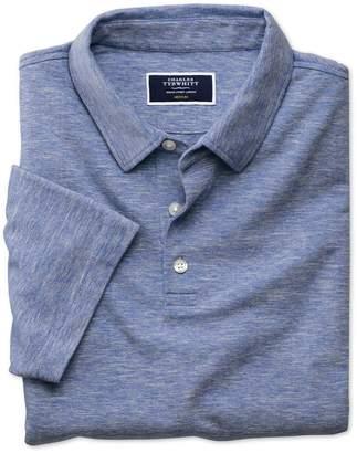 Charles Tyrwhitt Mid Blue Cotton Linen Polo Size XL