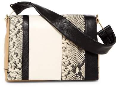 Vince Camuto Jan Flap Snake-Embossed Leather Shoulder Bag