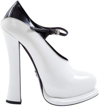 Prada Mary Jane White Leather Heels