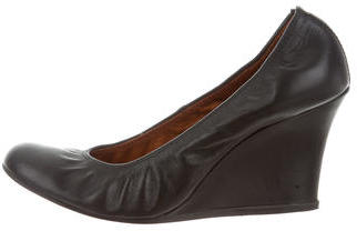 Lanvin Leather Round-Toe Wedges $95 thestylecure.com