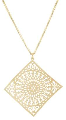 Xo X & O 14KT Gold Plated 45mm x 45mm Stamped Sunlight Pattern Curved Diamond Shape Pendant Necklace