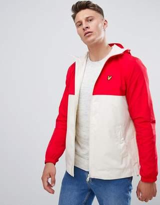 Lyle & Scott hooded lightweight jacket in white/red