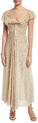 Brock Collection Dora Off-the-Shoulder Mini-Floral Lace-Up Long Dress