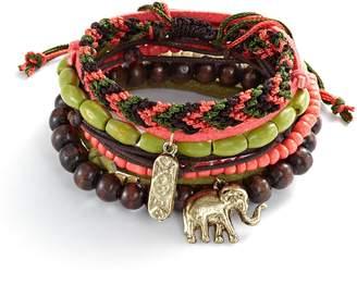 Mudd Gold Tone Bead & Elephant Charm Woven & Stretch Bracelet Set