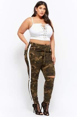 Forever 21 Plus Size Camo Drawstring Ripped-Knee Denim Pants