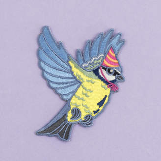 Birds in Hats Blue Tit In A Party Hat Iron On Embroidered Patch