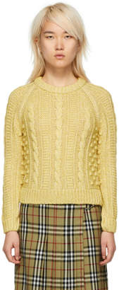 ALEXACHUNG Yellow Shrunken Crewneck Sweater