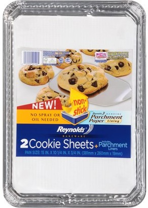 Reynolds Disposable Aluminum Cookie Sheet Pans with Parchment Lining, 15x10.25 Inch, 2 Count