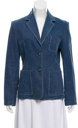 Celine Chambray Notch-Lapel Blazer