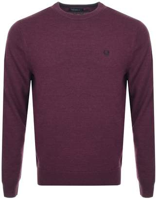 Fred Perry Classic Crew Neck Knit Jumper Burgundy