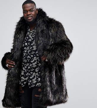 Asos DESIGN PLUS Faux Fur Overcoat in Brown