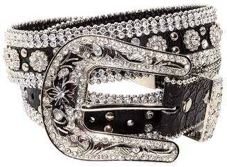 Veronica Beard 35mm Flower Crystals Leather Belt