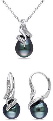 HBC CONCERTO 9-9.5MM Cultured Tahitian Pearl Swirl Necklace and Earrings Set with 0.10 TCW Diamonds