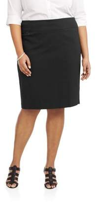 Lifestyle Attitudes Women's Plus Size Stretch Woven Career Pencil Skirt