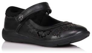 Bell George Girls Black Leather Floral Embellished School Shoes
