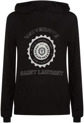 Saint Laurent Cashmere Universite Logo Hoodie