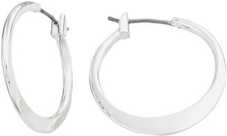 Napier Silver-Tone Flat Hoop Earrings