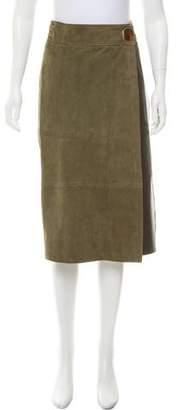 Tibi Suede Midi Skirt