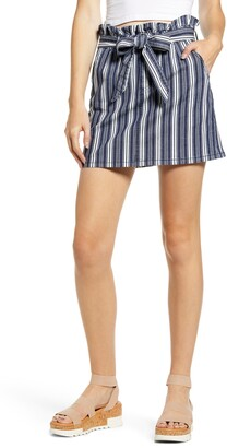 Prosperity Denim Stripe Paperbag Waist Miniskirt