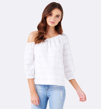 Tina tipped shoulder cotton blouse