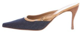 Christian Dior  Christian Dior Denim Pointed-Toe Mules