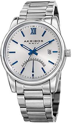 Akribos XXIV Stylish Silver Stainless Steel Dress Watch for Men –Quartz –AK962SS - Packed in a Beautiful Gift Box