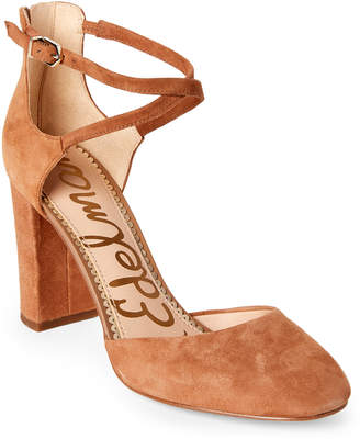 Sam Edelman Dark Gold & Caramel Simmons Ankle Strap Pumps