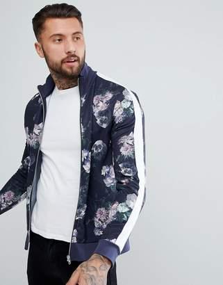 Asos DESIGN Track Jacket with All Over Floral Print & Stripe Stripe
