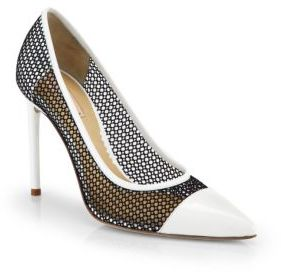 Reed Krakoff Academy Mesh & Patent Leather Cap-Toe Pumps