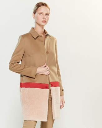 Les Copains Camel & Light Pink Faux Fur-Trim Wool Coat