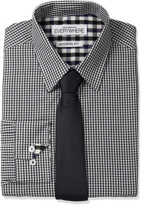 Nick Graham Everywhere Men's Micro Gingham Dress Shirt with Tie