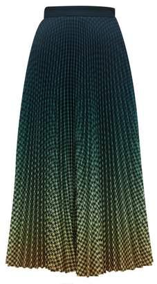 Mary Katrantzou Degrade Houndstooth Print Pleated Crepe Skirt - Womens - Dark Green