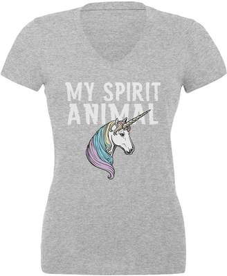 Old Glory My Spirit Animal Unicorn Juniors V-Neck T Shirt Heather SM