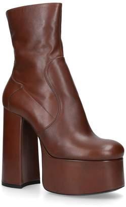Saint Laurent Leather Billy Platform Boots 90