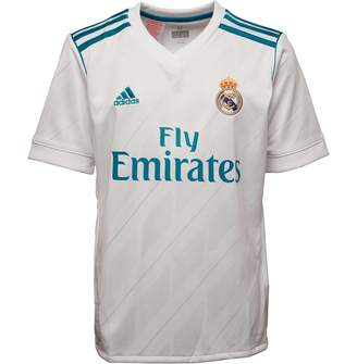adidas Junior Boys RMCF Real Madrid Home Jersey White/Vivid Teal