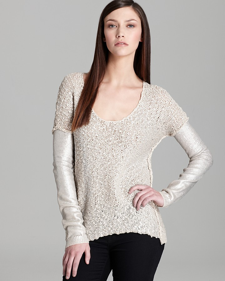 Rebecca Taylor Sweater - Long Sleeve Foil Printed Pullover