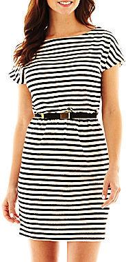 JCPenney Danny & Nicole Cap-Sleeve Striped Dress - Petite