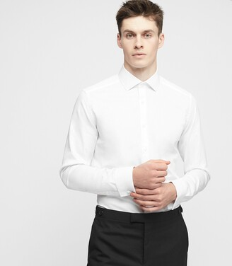Reiss DETROLLER DOUBLE-CUFF SLIM-FIT SHIRT White