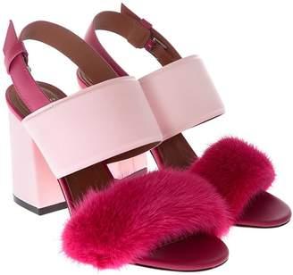 Givenchy Fur Block Heel Sandals