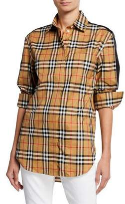Burberry Saoirse Long-Sleeve Satin-Stripe Check Shirt