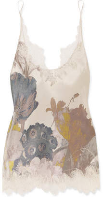 Carine Gilson Chantilly Lace-trimmed Floral-print Silk-satin Camisole - Blush