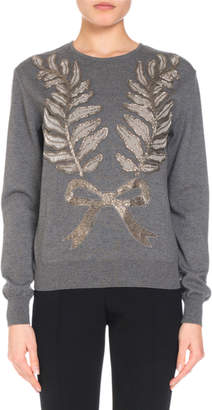 Andrew Gn Bow & Leaf Embellished Knit Sweater